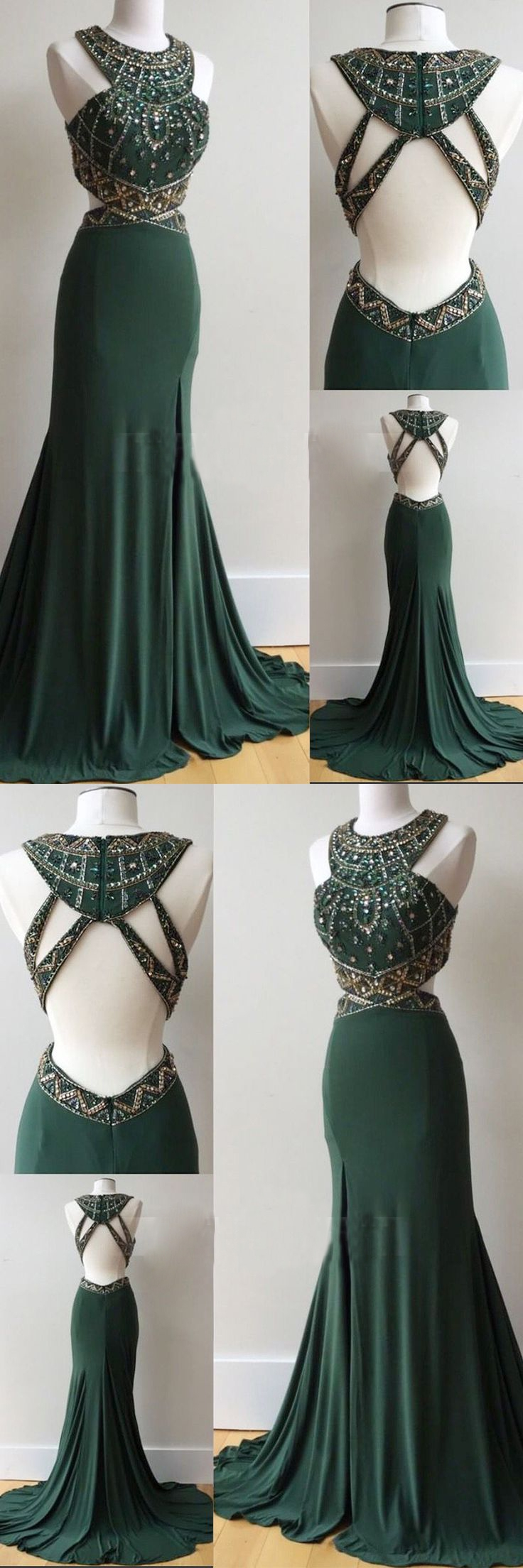 Dark green prom dresses column scoop rhinestone long prom dress sexy