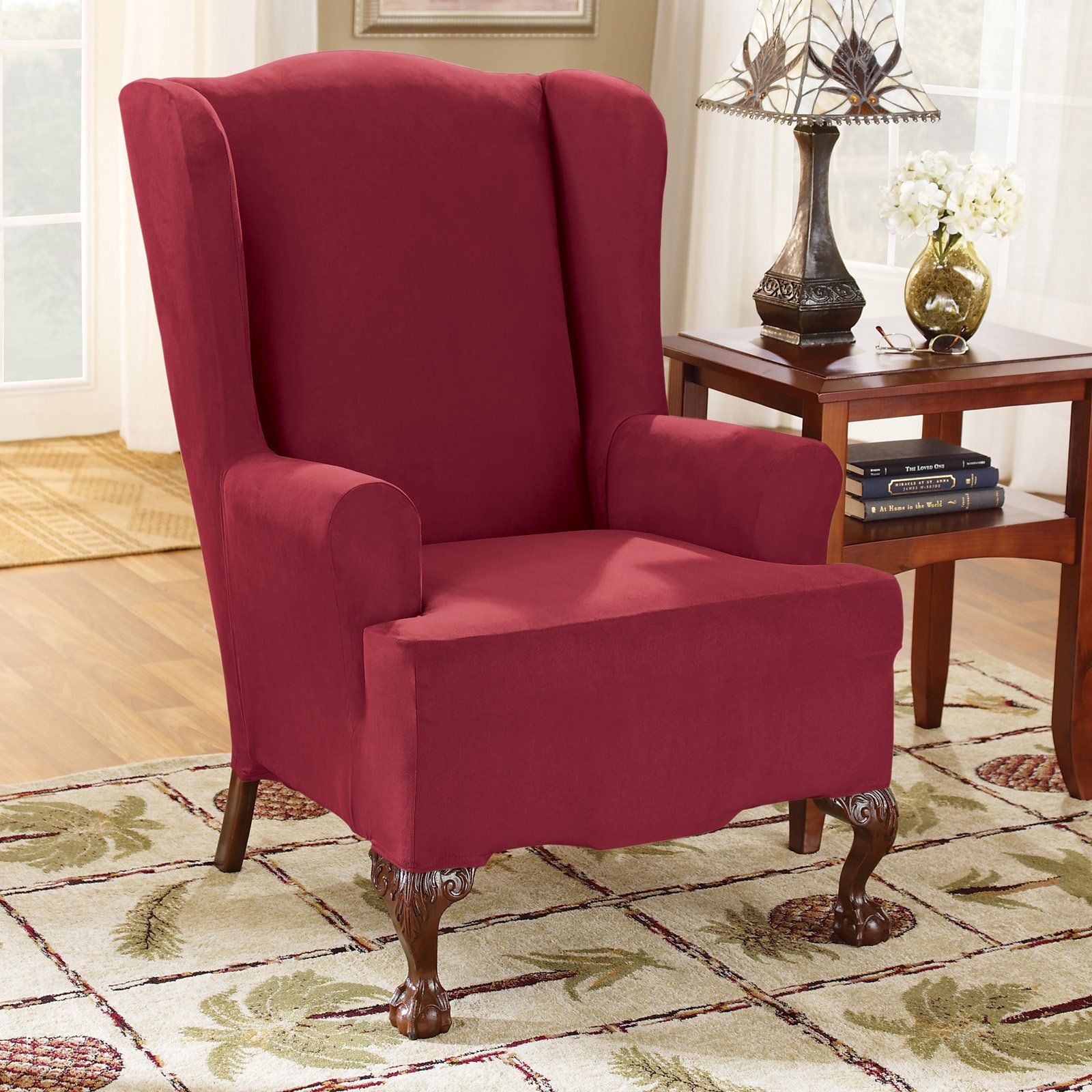 Sure Fit Stretch Suede T Cushion Wing Chair Slipcover From