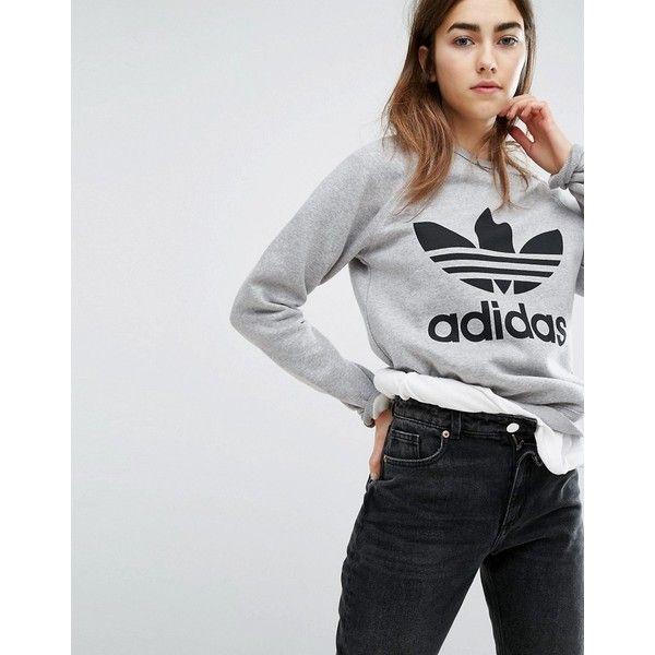 adidas Gray Trefoil Boyfriend Sweatshirt | Adidas sweatshirt
