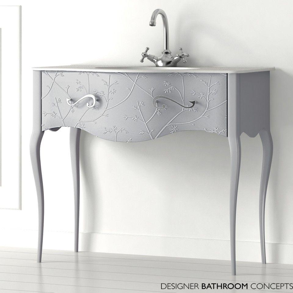 Fiora Vivaldi Designer Freestanding Flores Silver Vanity Unit ...