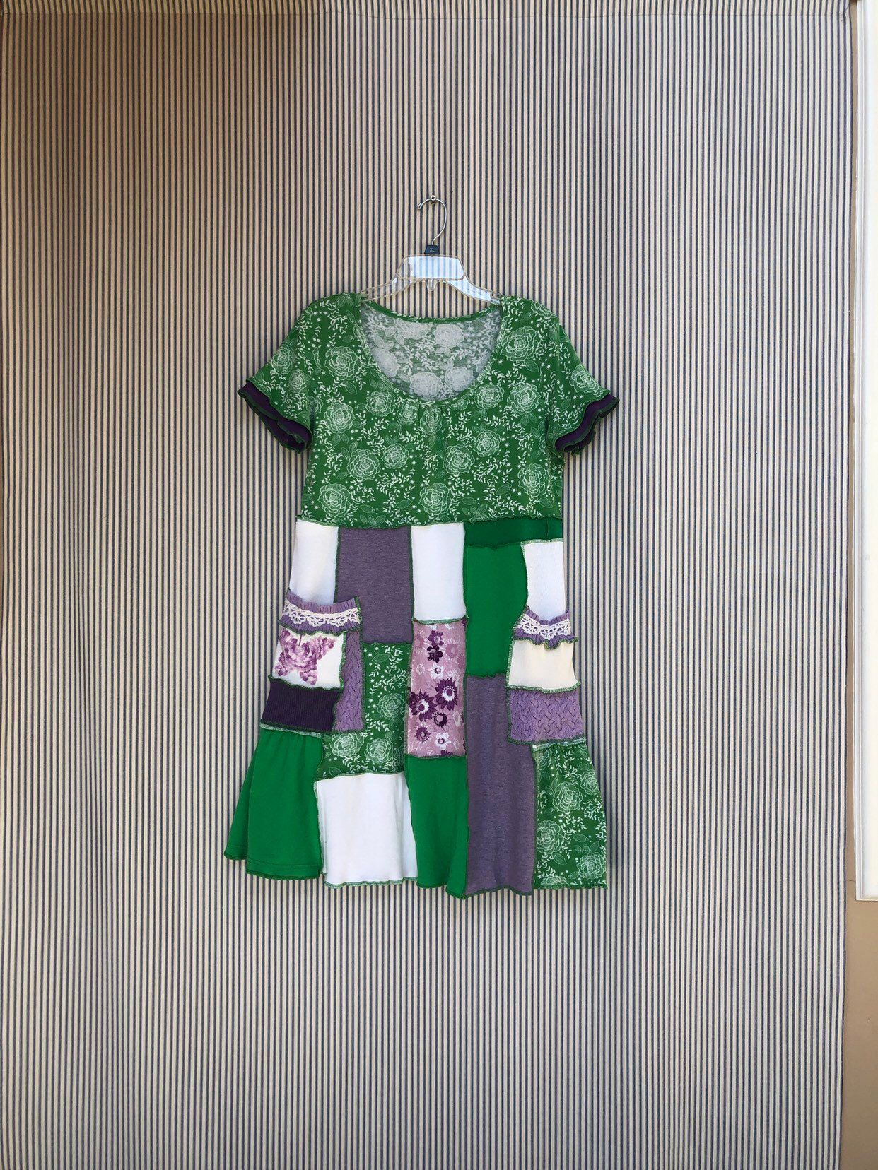 d617a341b6c Excited to share this item from my  etsy shop  Upcycled Spring T-Shirt Dress   clothing  women  dress  green  scoop  bohohippie
