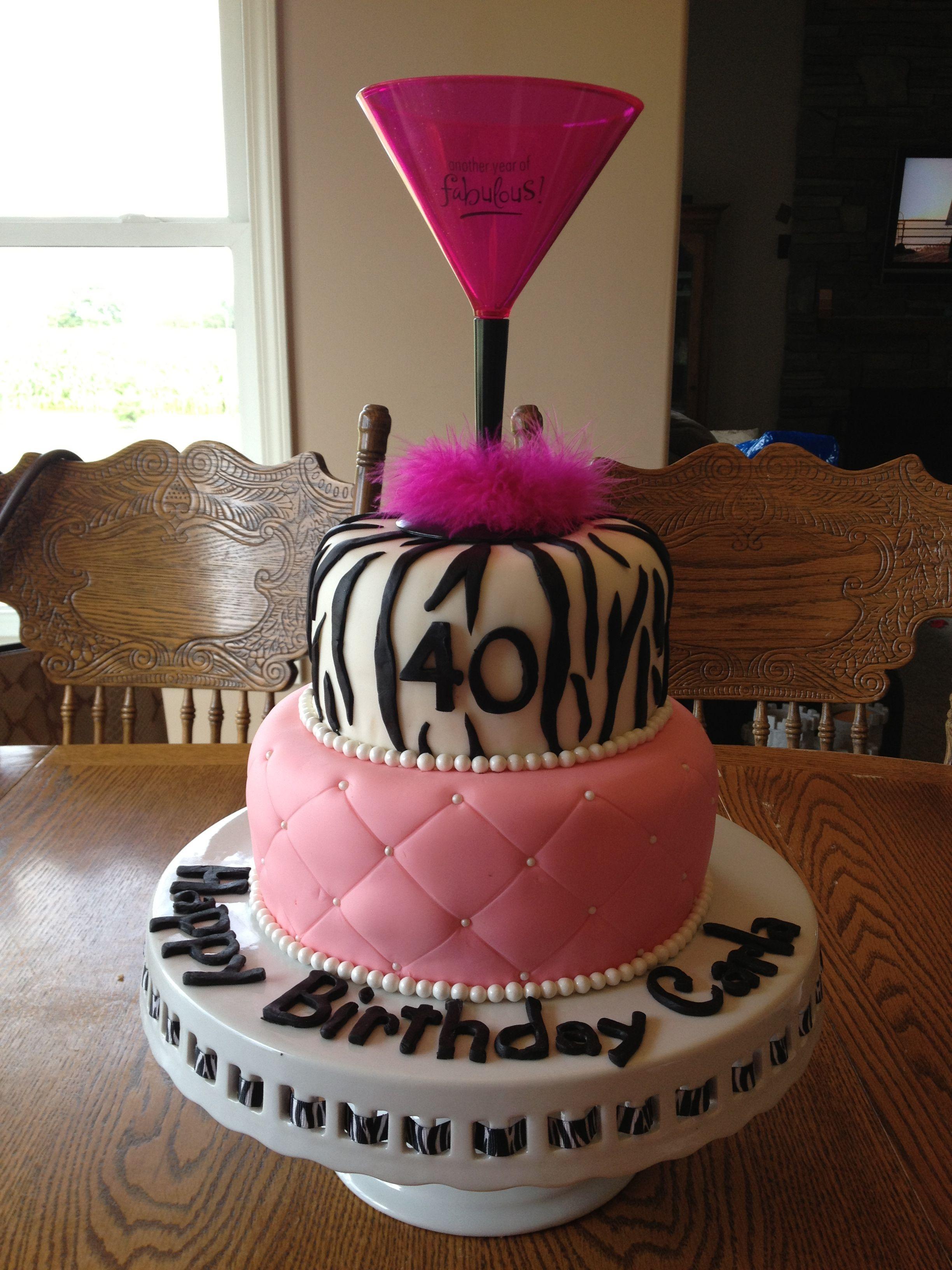 Pink Zebra 40th Birthday Cake Happy Birthday Carla