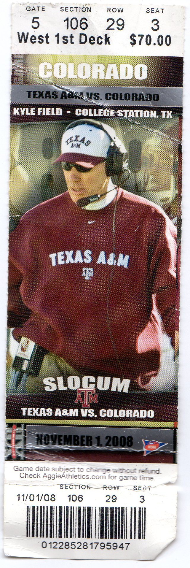 2008 game ticket of Texas A&M vs Colorado at Kyle Field in