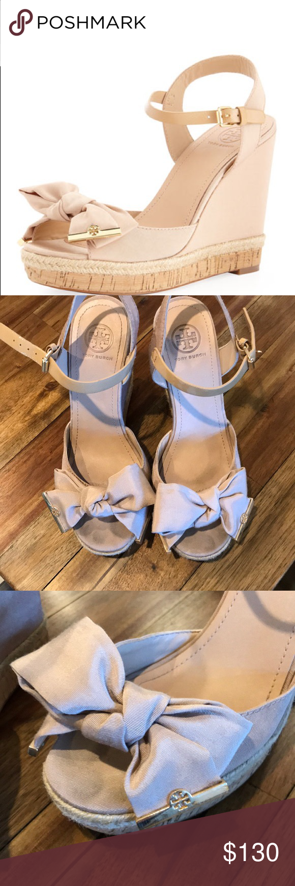 4e00ce8b425 Tory Burch Penny Faille Bow Wedge Tory Burch wedge. Perfect Nude color. Bows  with T emblem on sides. Ankle strap. Some wear on bottoms.
