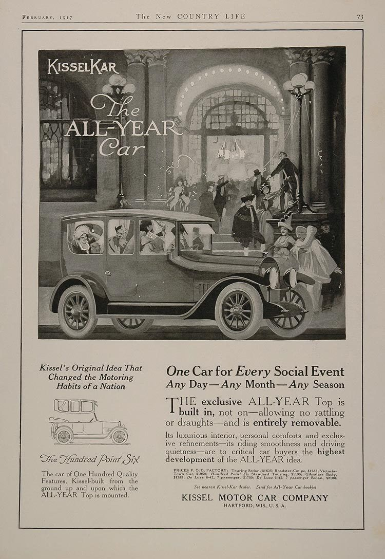 Advertising: 1917 Kissel Kar Antique Vintage Car ad Hartford, WI ...