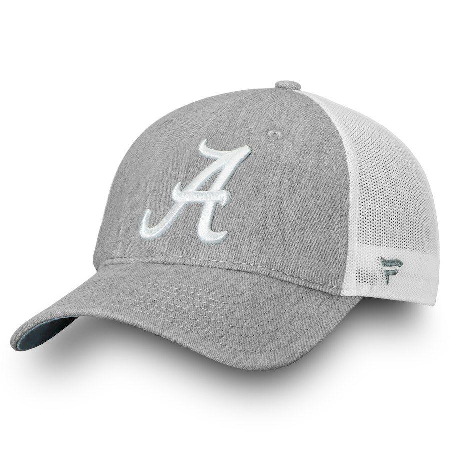 aeae84ad8a4 Alabama Crimson Tide Fanatics Branded Lux Slate Trucker Snapback Adjustable  Hat – Gray White