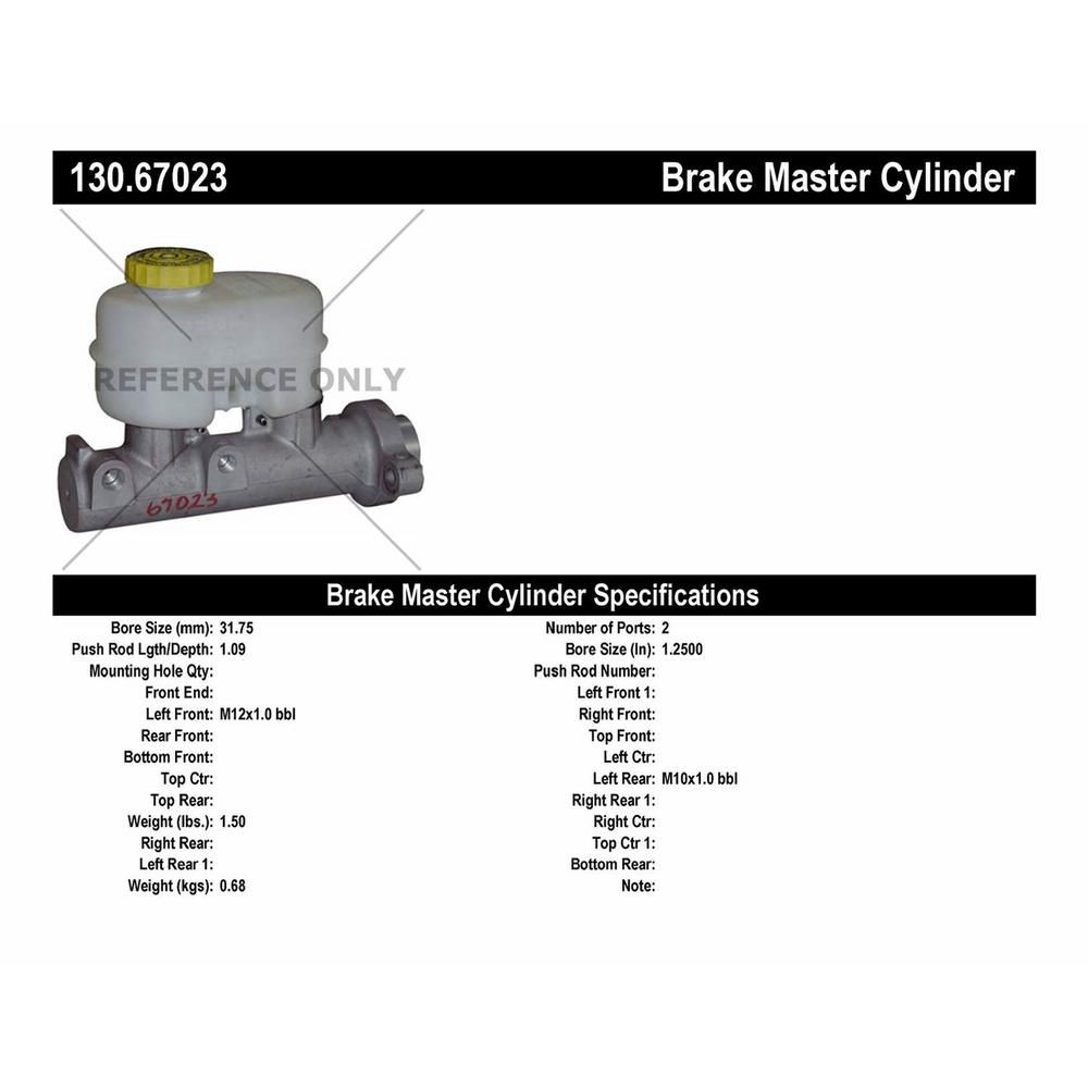 Centric Parts Brake Master Cylinder 2001 Dodge Ram 1500 Dodge Ram 1500 Toyota Mr2