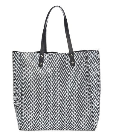 Look what I found on #zulily! Black Leather Zigzag Tote With Interior Pouch #zulilyfinds