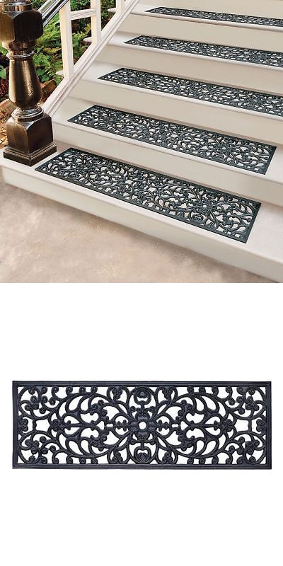 Stair Treads 175517 30 Rubber Stair Treads Set Of 4 Non Slip Black Mat Outdoor Step Rugs Scrolled Buy It Now Only 26 5 Outdoor Steps Stair Treads Stairs