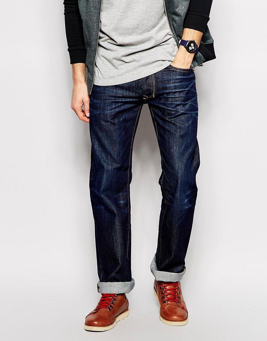 4519fe95 Image 1 of Diesel Jeans Larkee Straight Fit 0806W Dark Wash | Dad 2016
