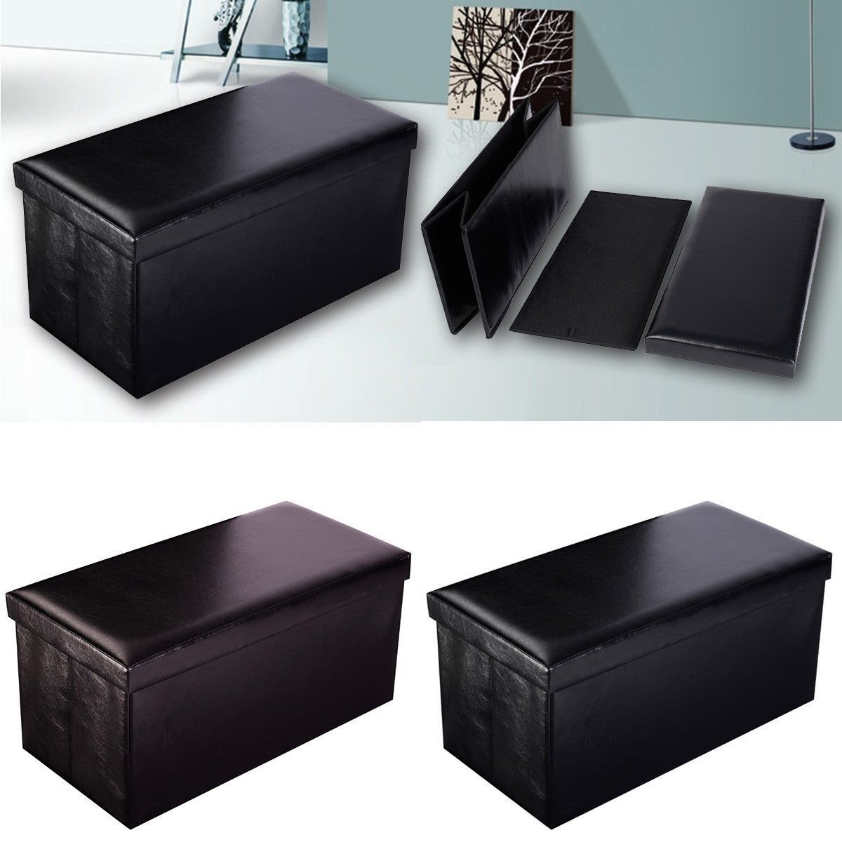 ashley popular blue ottoman elegant leather featured storage and drawers furniture with stylish bedroom