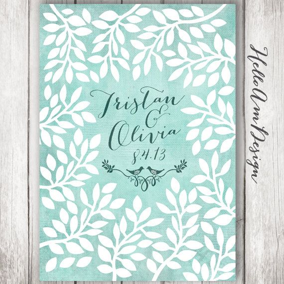 Wedding Guest Book Watercolour Mint By Helloam
