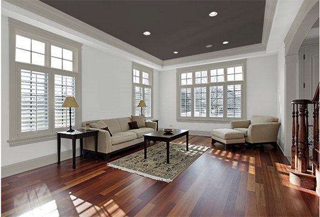 Combine A Dark Ceiling With Grey Trim Amp White Walls For