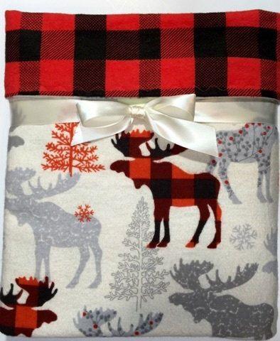 Flannel Baby Blanket Buffalo Plaid Moose Crib Bedding