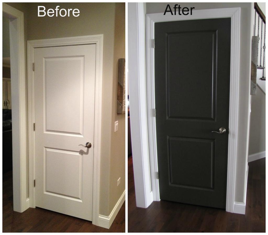 Dark Doors With White Trim | Double Glass Double Main Black Interior Doors  With White
