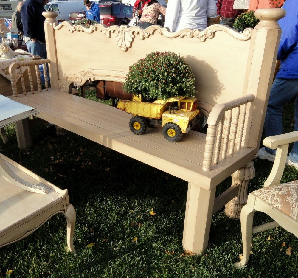 A Re Purposed Bench Upside Down Foot Board With Crib Parts For Arms Like Gail Myrepurposed Repurposed Furniture This End Up Furniture Diy Furniture Projects