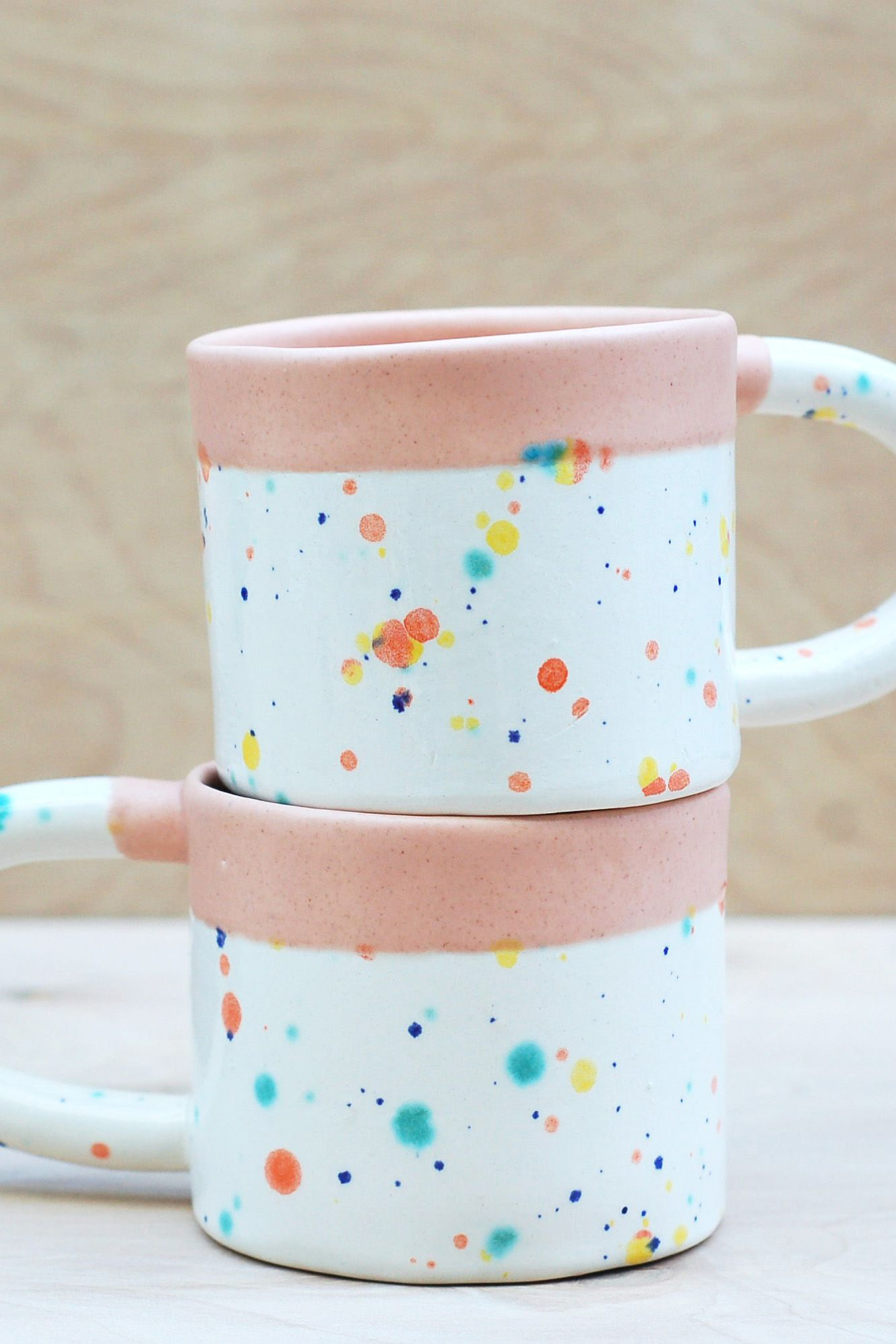 Handmade Ceramic Cup Peach and Confetti Glaze Modern