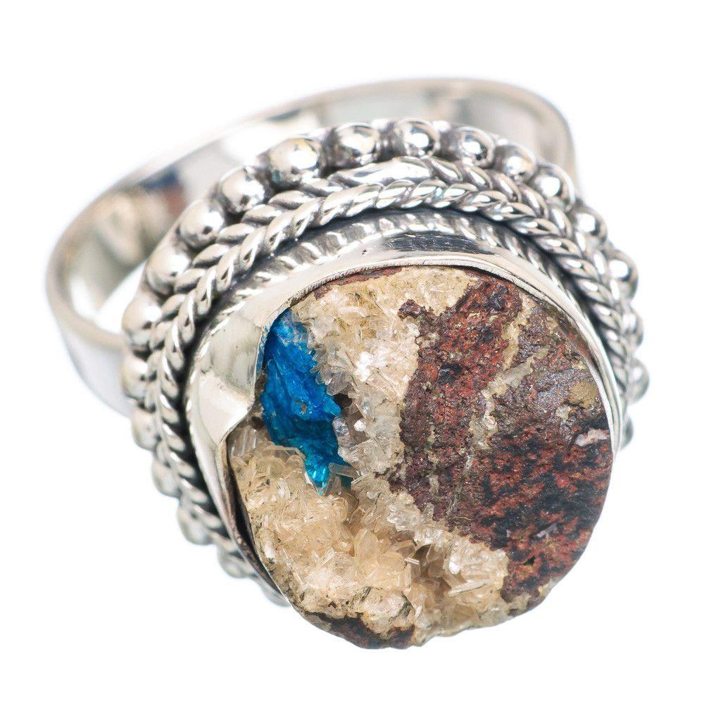 Cavansite crystal sterling silver ring size ring
