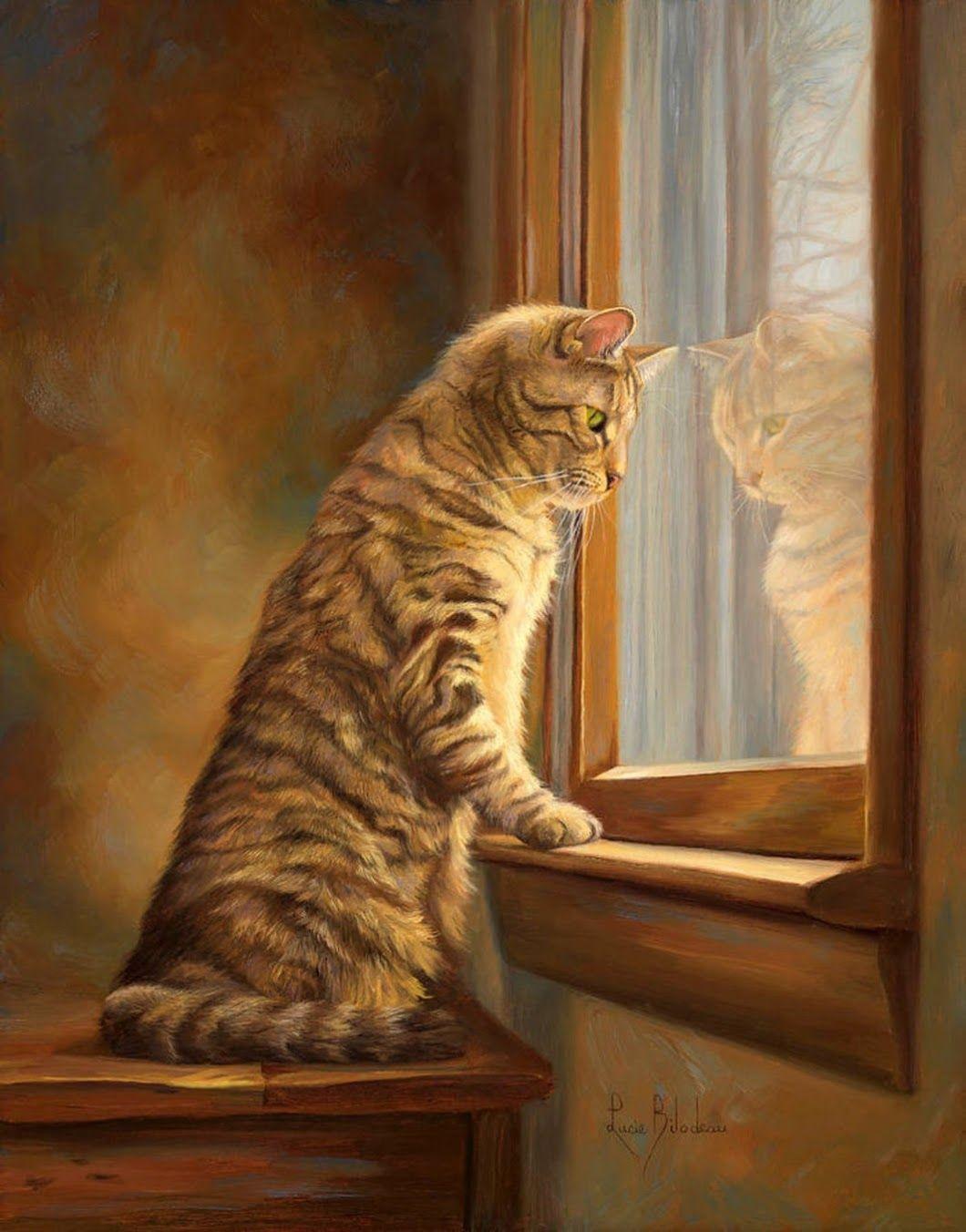 Lucie Bilodeau   Cat painting, Cats, Cat art