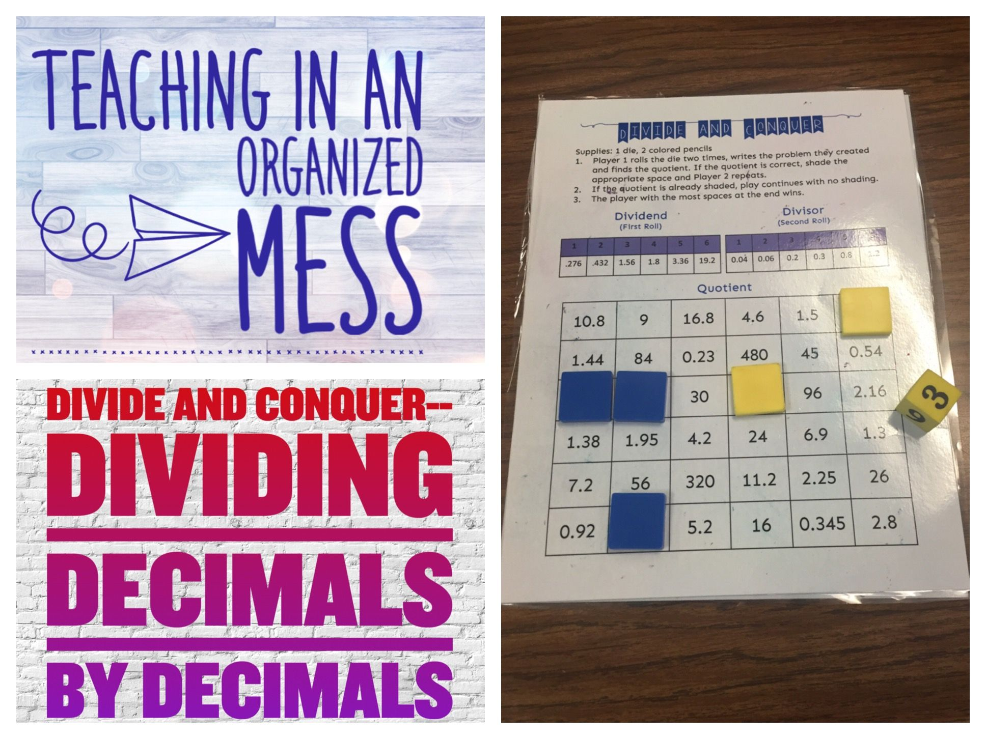 Dividing Decimals By Decimals Divide And Conquer Game