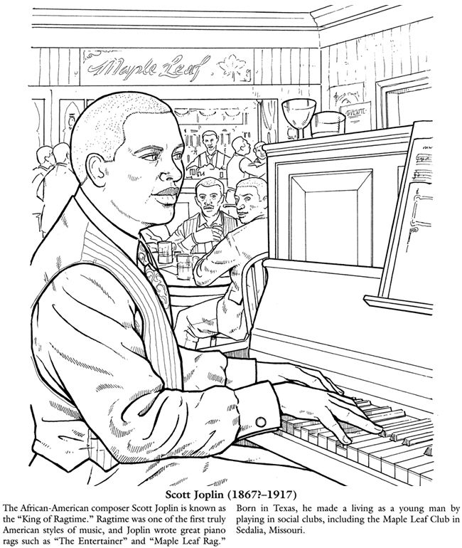 Scott Joplin Coloring Page Black History Month Preschool Music