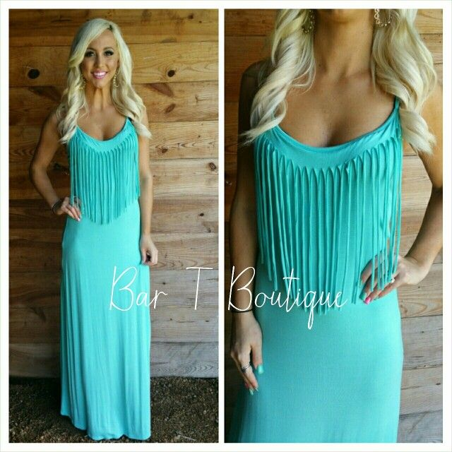 Turquoise Fringe Maxi ~ Follow @bar_t_boutique on Instagram  to Shop weekly New Arrivals