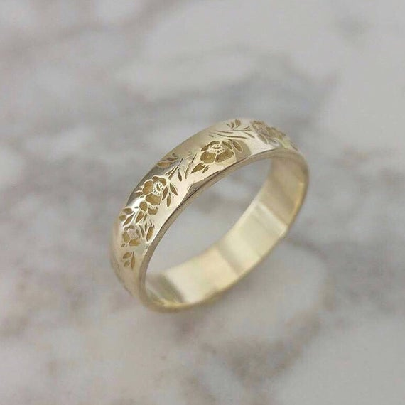 Flower Wedding Band Vintage Style Floral Ring For Women Engraved