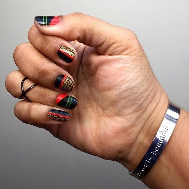 Strong Bond And Strength In Colors Mixed Manicure