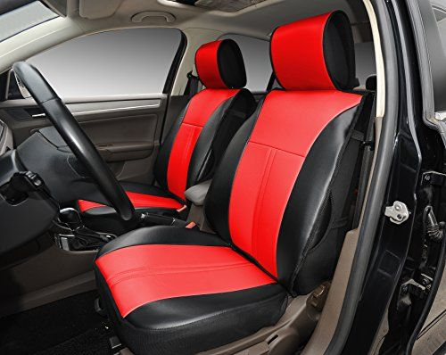 180208S BlackRed2 Front Car Seat Cover Cushions Leather Like Vinyl ...