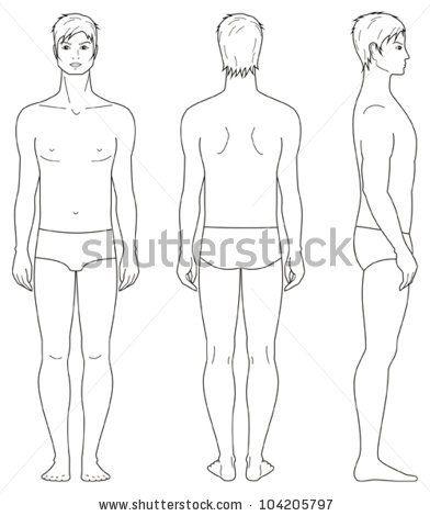 Vector illustration Template of man\u0027s figure Front, back, side