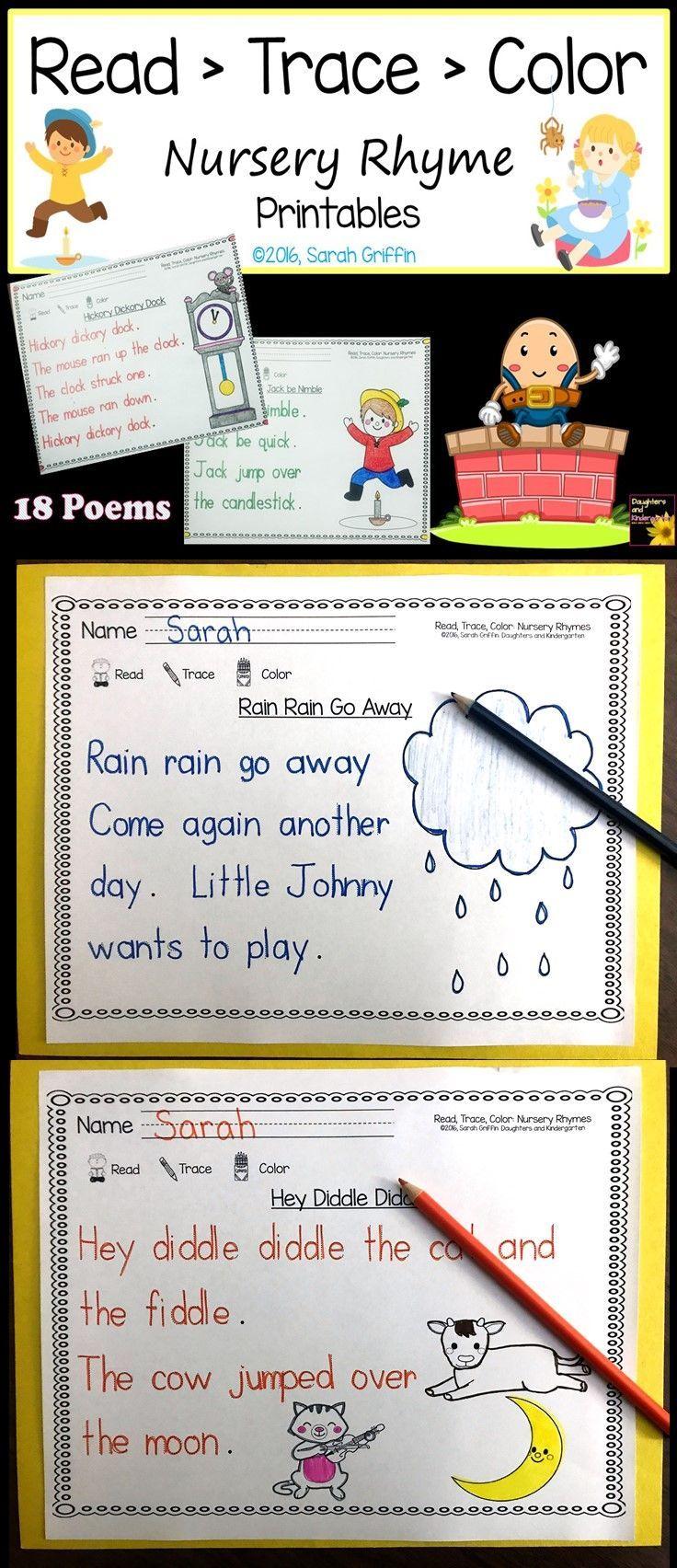 Read Trace Color Nursery Rhyme Tracing Worksheets Writing Center Fine Motor Prek Kindergarten Nursery Rhymes Kindergarten Themes Poetry Worksheets [ 1704 x 736 Pixel ]