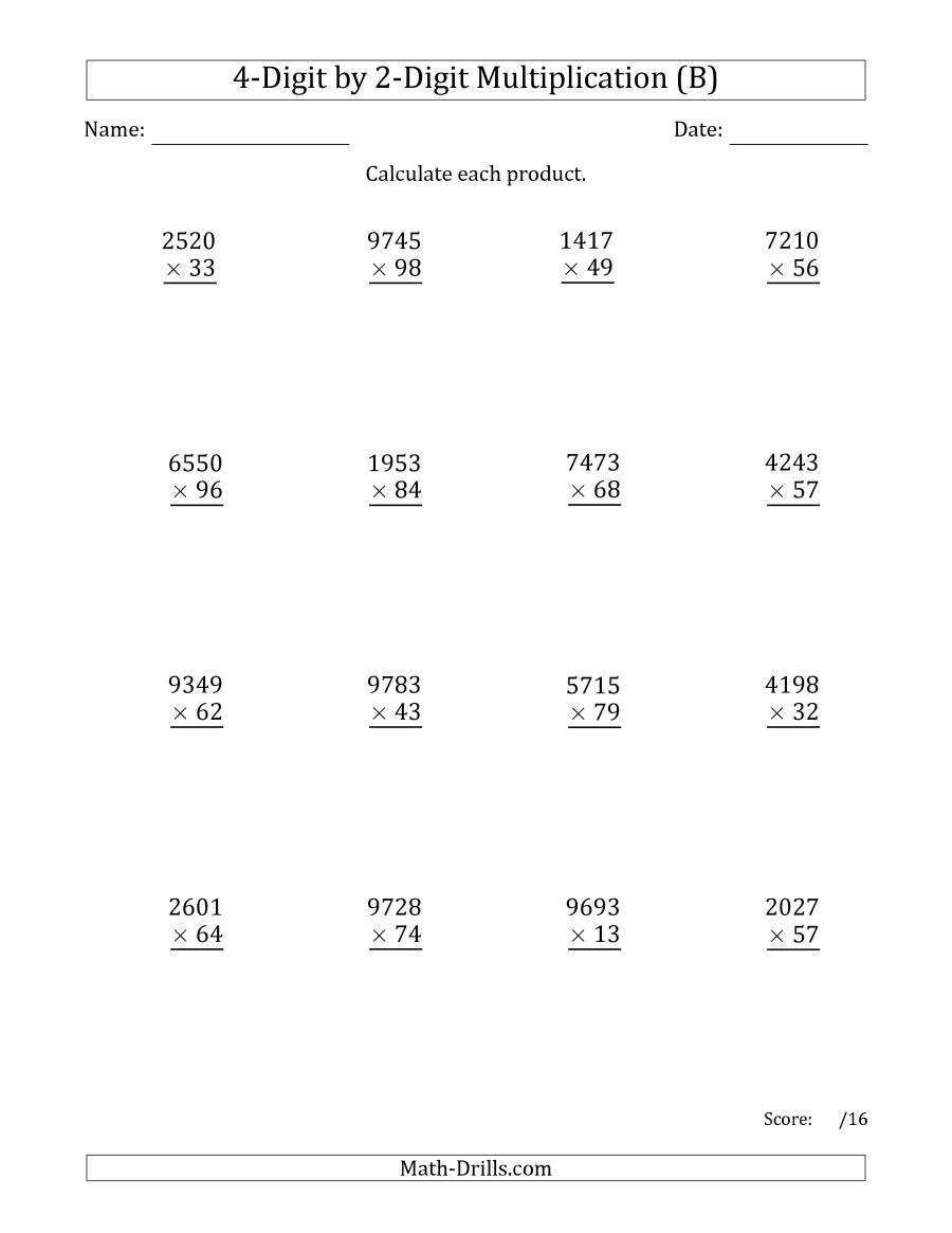 The Multiplying 4-Digit by 2-Digit Numbers (B) Math Worksheet from the Long  Multiplication Worksheets …   Multiplication worksheets [ 1165 x 900 Pixel ]