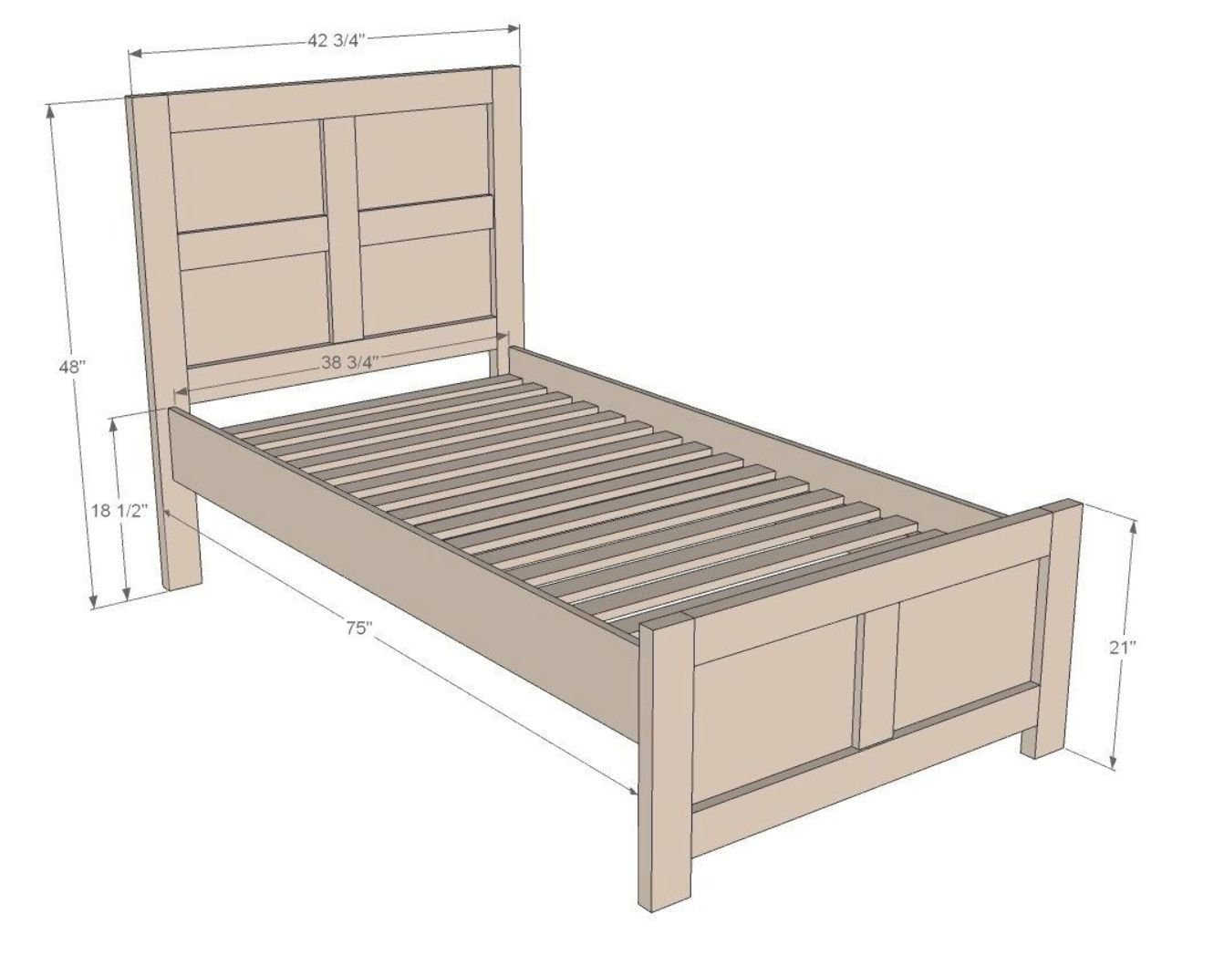 Emme Twin Bed Ana White Diy Twin Bed Diy Twin Bed Frame Bed