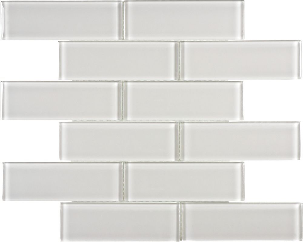 - 2-inch X 6-inch Glass Brick Mosaic Tile In Arctic Fog Glass Tile