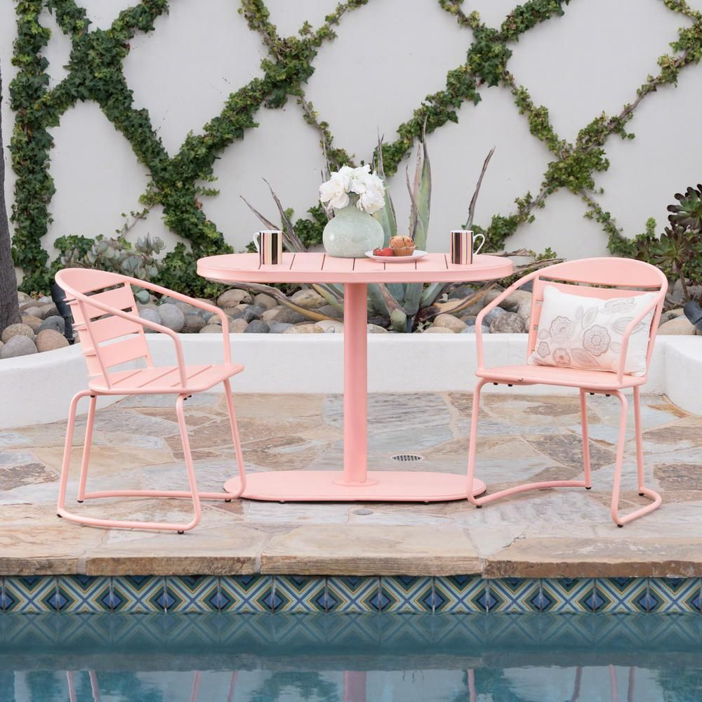 Noble House Matte Coral 3 Piece Metal Oval Outdoor Bistro Set