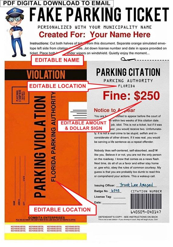 PDF Fake Parking Ticket What a Great Way by