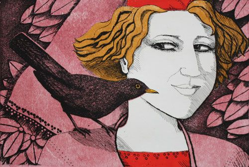 Girl with blackbird 13/50 by Frans Wesselman   colored etching with relief