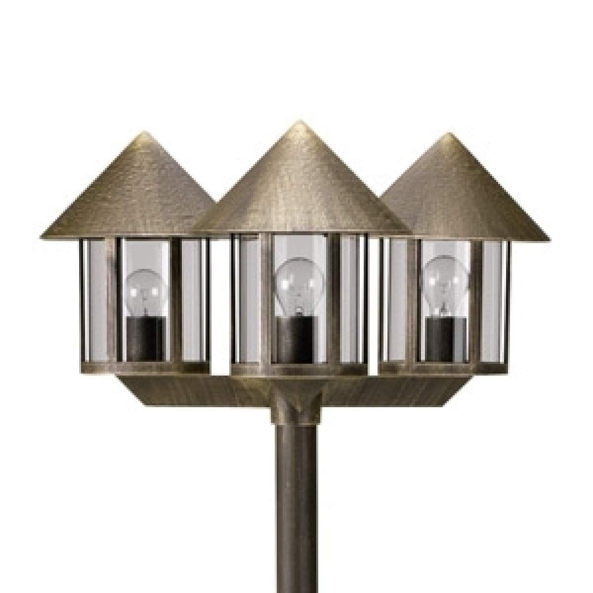 mastleuchte lampione 3-flammig braun   mastleuchten und kandelaber