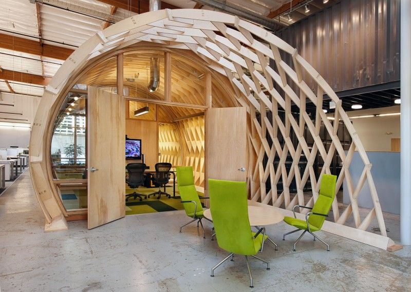 Cozy Contemporary Office Space With Indoor Green Creative Interior Design Wood In Use For