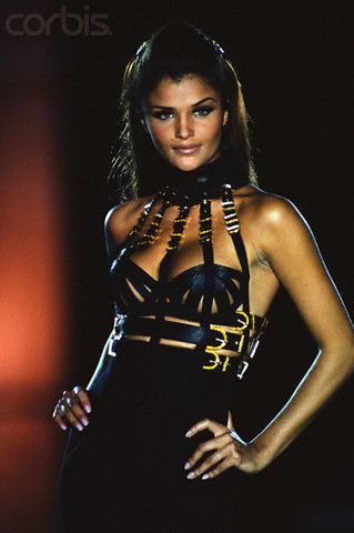Helena Christensen Modeling Versace, 1993.