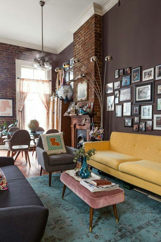 Ecclectic Living With Yellow Sofa Seen At Apartment Therapy