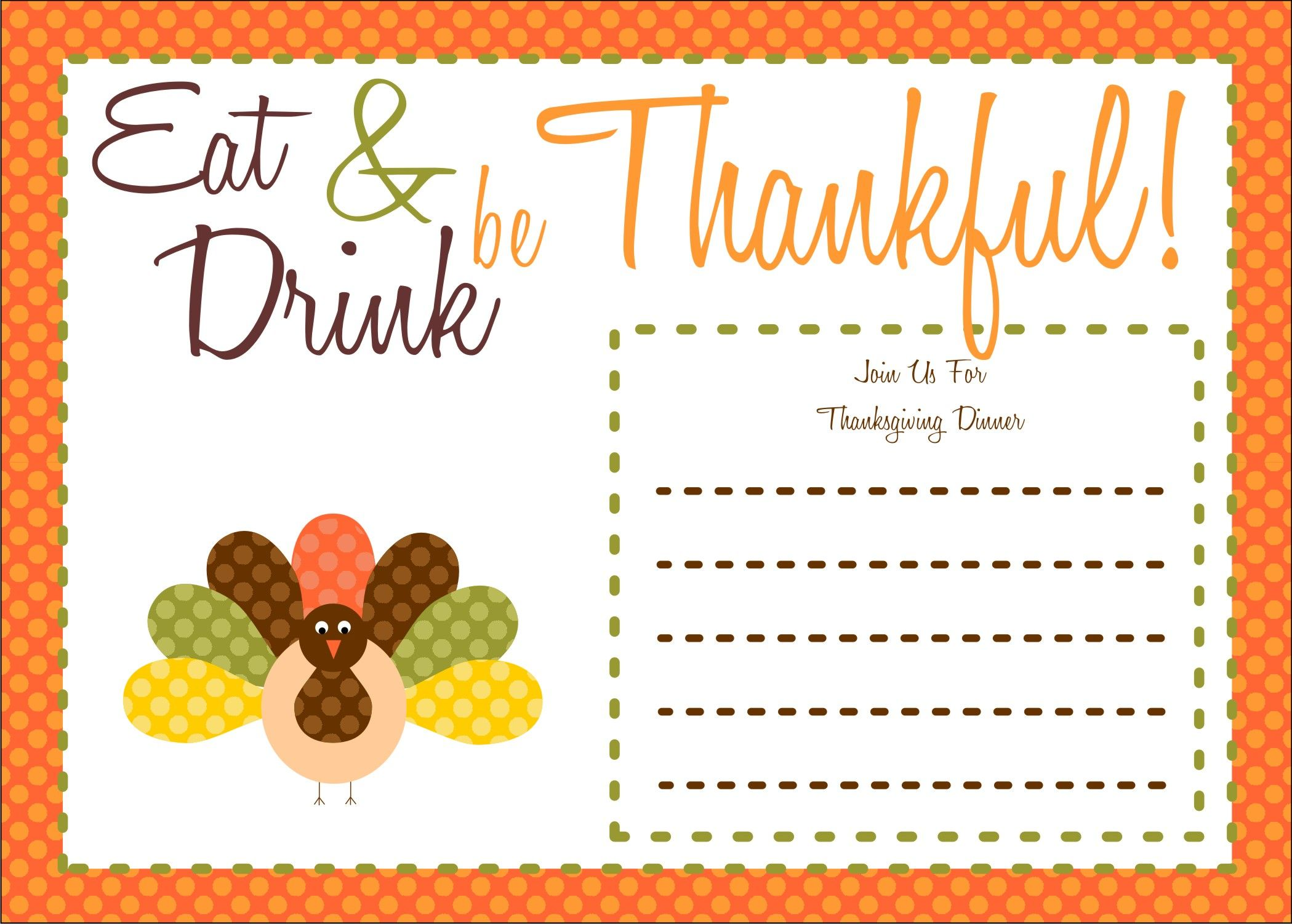 FREE Thanksgiving Printables From The Party Bakery Thanksgiving - Thanksgiving party invitation templates