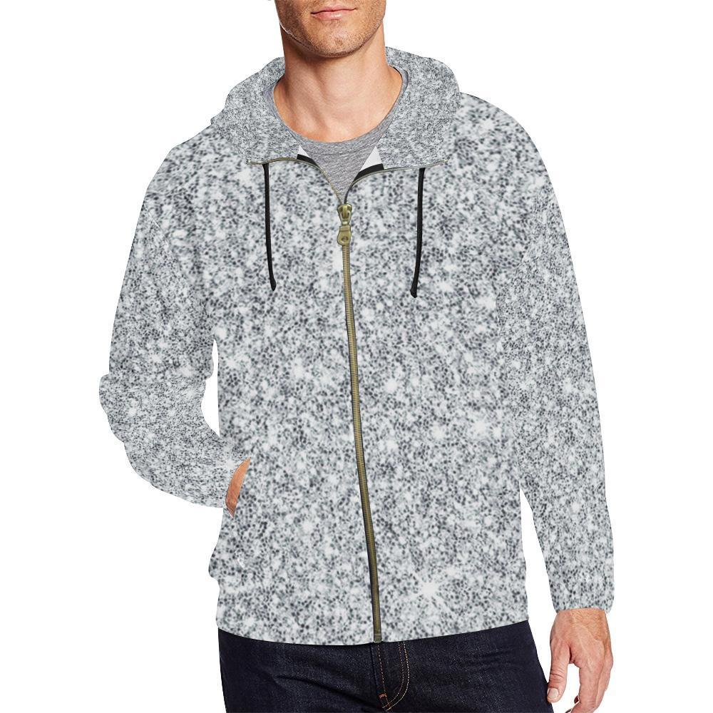 New Men Fleece Hoodie  Hooded Sweatshirt Graphic Print /& Sequin Allover ////