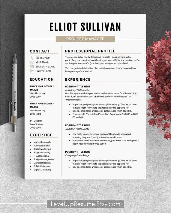 Minimalist resume template CV Resume professional Curriculum vitae