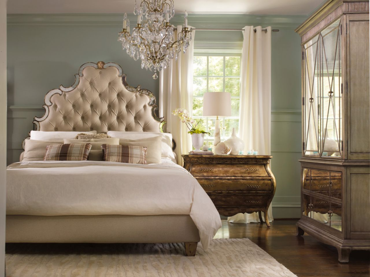 Sanctuary Queen Tufted Headboard - Bling, Hooker Furniture ...