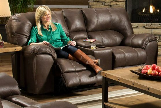 Stallion Saddle Reclining Loveseat with Console - Bills Brothers
