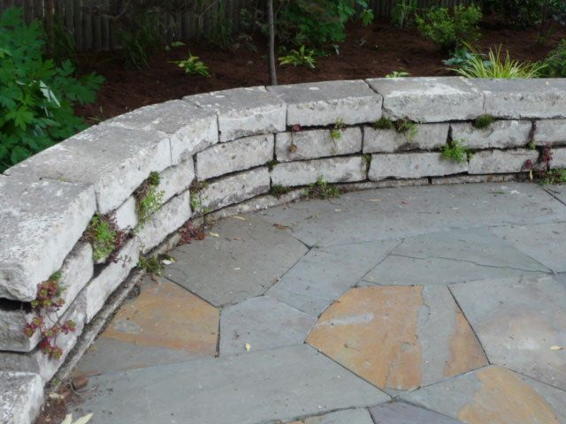 Dry stack stone seating wall Outdoor DIY Projects Pinterest
