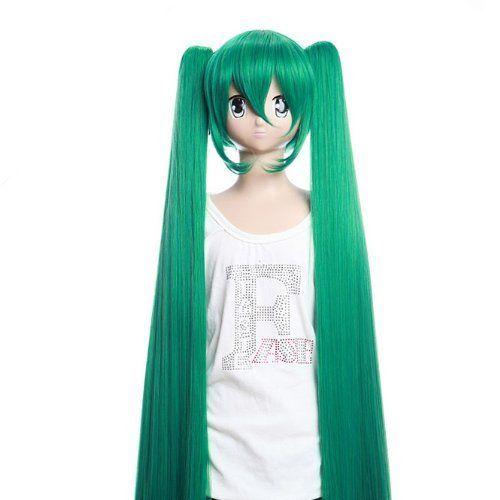Surewells Nice Wigs Long Straight Light Brown Wigs Oblique: SureWells Nice Wigs Wig Vocaloid Miku Green Straight Wigs