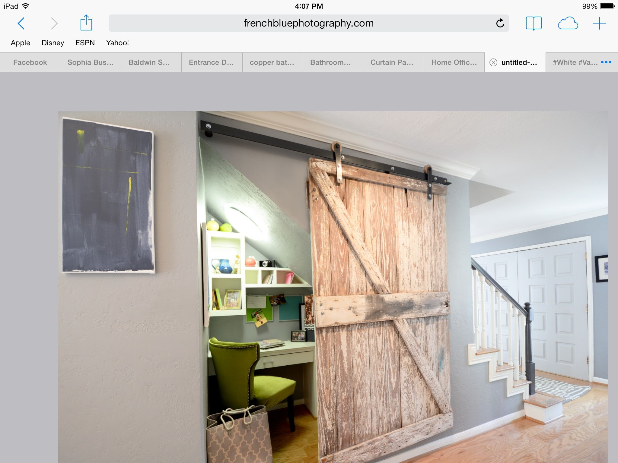 Barn door small office space office under stairs gray for Office door entrance designs