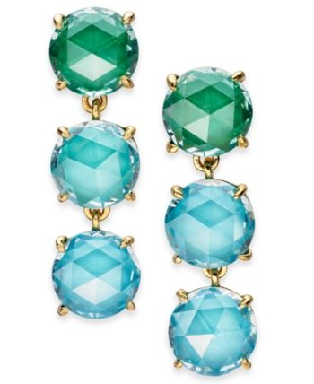 e0ca2559e9cb9 kate spade new york Gold-Tone Stone Triple Drop Earrings - Blue ...